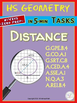 DISTANCE (HS Geometry Curriculum in 5 min tasks/ Assessments - Unit 5)
