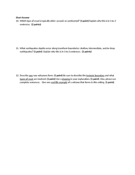 HS History of Earth Quiz Unit Assessment