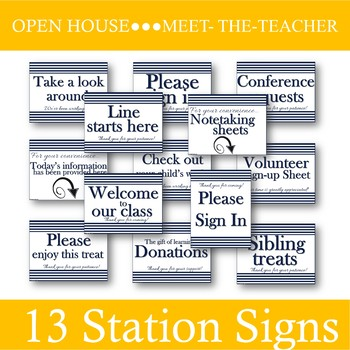 HS/MS Open House Station Signs [Navy]: Ready for Meet the Teacher Night!