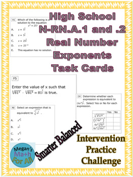 HS Math N-RN.A.1,.2 Task Card for Real Number Exponents - SBAC -Editable