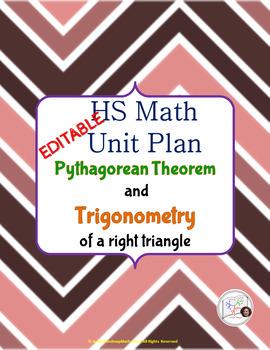 {EDITABLE} Geometry Unit Plan: Pythagorean Theorem & Trigonometry of Right ∆