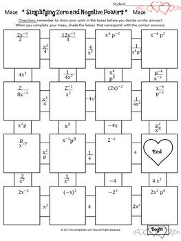 Math Maze Puzzle: Zero and Negative Exponents Valentine, St.Valentine's EDITION