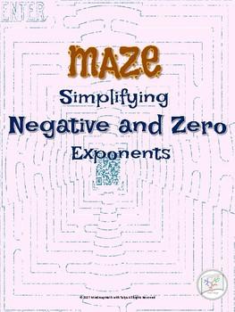 Zero Powers & Negative Powers Math Puzzle Maze for Substitute plans