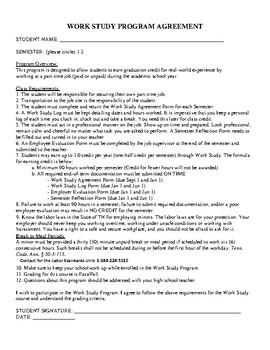 Hs Work Study Student Agreement Form