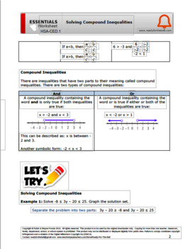 HSA-CED.1 Solving Compound Inequalities