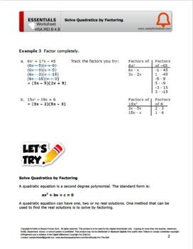 HSA.REI.B.4.B Solve Quadratics by Factoring