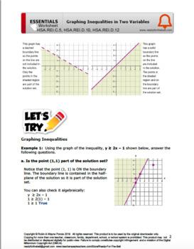 HSA.REI.C.5, HSA.REI.D.10, HSA.REI.D.12 Graphing Inequalities