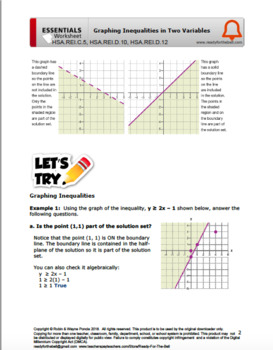 Hsa Rei C 5 Hsa Rei D 10 Hsa Rei D 12 Graphing Inequalities Tpt