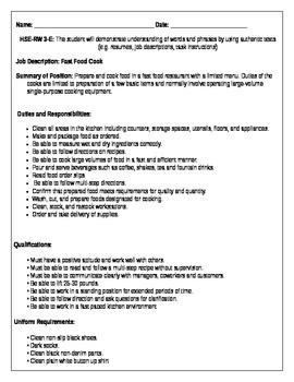 HSE-RW 3-E- Job Description: Fast Food Cook