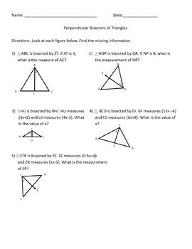 HSG.CO.D.12 - Worksheet, Quiz PERPENDICULAR BISECTOR pract