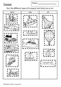 Transport Sort - Land, Sea and Air - Classifying - Test