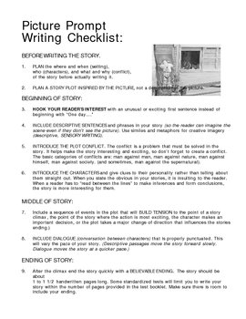 Picture Prompt Writing Checklist for Students