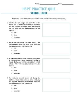 HSPT Practice Quiz: Verbal Logic