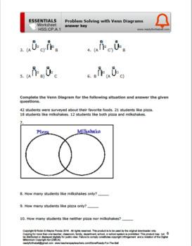 HSS.CP.A.1 Venn Diagrams Set Notations Symbols Logic Problems