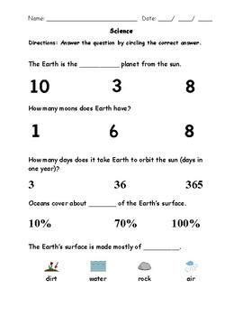 HSS ESS1 Earth Solar System Visual Helper Autism VAAP Assessment