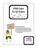 HTML Codes for TpT Seller Product Descriptions