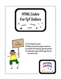 HTML Codes for TpT Seller Product Descriptions