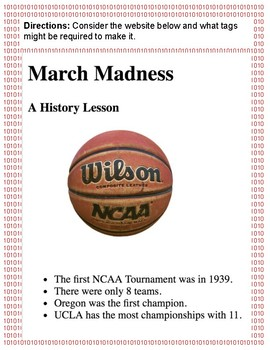 HTML March Madness Activity