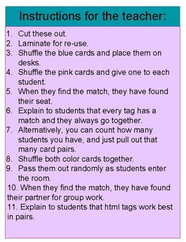 HTML Tag Cards for Seating Assignments or Partner-Picking