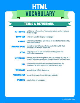 HTML Vocabulary Activity Packet