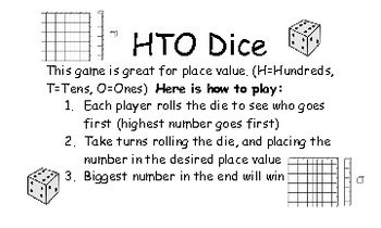 HTO Dice Place Value Game