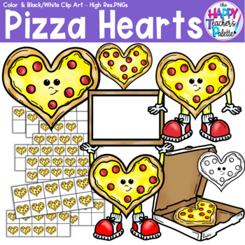 HTP Clip Art Pizza Hearts {The Happy Teacher's Palette} Perfect for Mini-Erasers