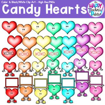 HTP Clip Art Rainbow Hearts *The Happy Teacher's Palette* Set for Mini-Erasers