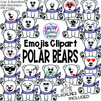 HTP Clip Art Polar Bear Emojis {The Happy Teacher's Palette}