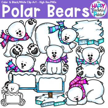 HTP Clip Art Polar Bears {The Happy Teacher's Palette}