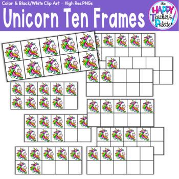 HTP Clip Art Unicorn Ten Frames {The Happy Teacher's Palette}