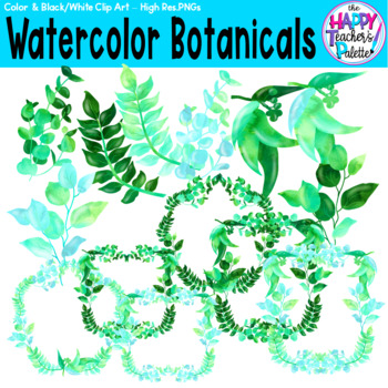 HTP Clip Art Watercolor Botanicals {The Happy Teacher's Palette}