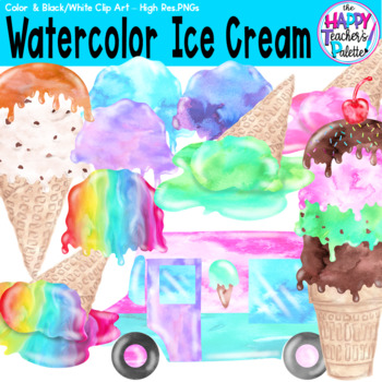 HTP Clip Art Watercolor Ice Cream Scoops {The Happy Teacher's Palette}