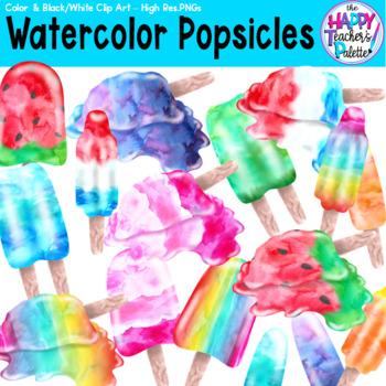 HTP Clip Art Watercolor Popsicles {The Happy Teacher's Palette}