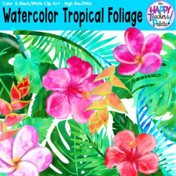 HTP Clip Art Watercolor Tropical Foliage {The Happy Teacher's Palette}