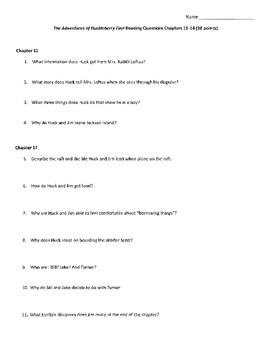 HUCKLEBERRY FINN CHAPTERS 11-14 QUESTIONS WITH ANSWER KEY