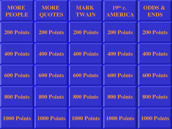 HUCKLEBERRY FINN JEOPARDY REVIEW GAME PART TWO