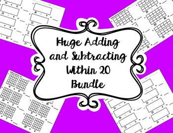 HUGE 130 Worksheets Bundle of Addition and Subtraction Problems Within 20