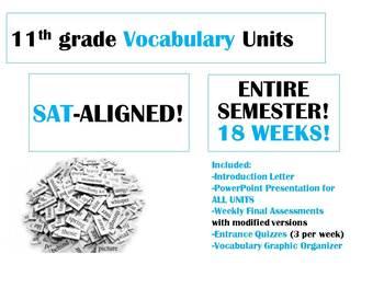 HUGE BUNDLE (18 Weeks!) 11th grade SAT-ALIGNED Vocabulary Units
