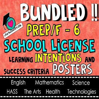 HUGE BUNDLE!  Learning INTENTIONS Posters - ALL SUBJECTS, ALL GRADES P/F TO 6!!!