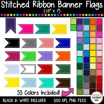 HUGE BUNDLE - Stitched & Plain Banner Flag Clipart / Journal Tabs - 300+ images!