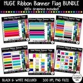 HUGE BUNDLE - Stitched & Plain Banner Flag Clipart / Journal Tabs - 319 images!