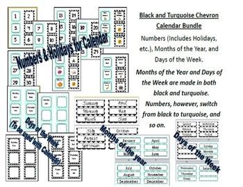 HUGE Black & Turquoise Chevron MEGA Pack {Some Editable Items}