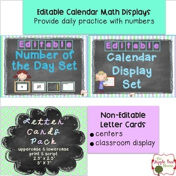 Classroom Management {Editable} Chalkboard Theme Decor Bundle