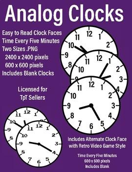 HUGE Clock Clip Art Bundle ~ Digital & Analog Clocks ~ Smartphones