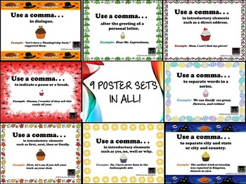 HUGE Comma Rules Classroom Poster Set Bundle: Grade 1