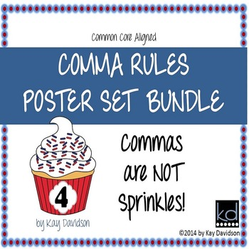 HUGE Comma Rules Classroom Poster Set Bundle: Grade 4