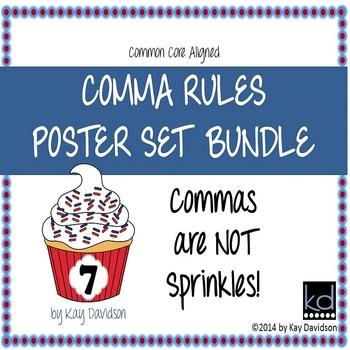 HUGE Comma Rules Classroom Poster Set Bundle: Grade 7
