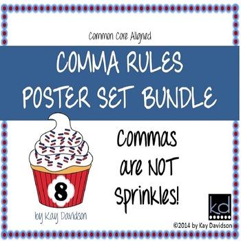 HUGE Comma Rules Classroom Poster Set Bundle: Grade 8