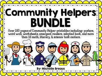 HUGE Community Helpers Math & Literacy Bundle Pre-K, K, 1,