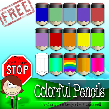 HUGE FREEBIE!! 42 Colored Pencils {The Teacher Stop}